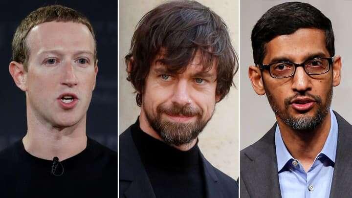 Mark Zuckerberg, Jack Dorsey, and Sundar Pichai