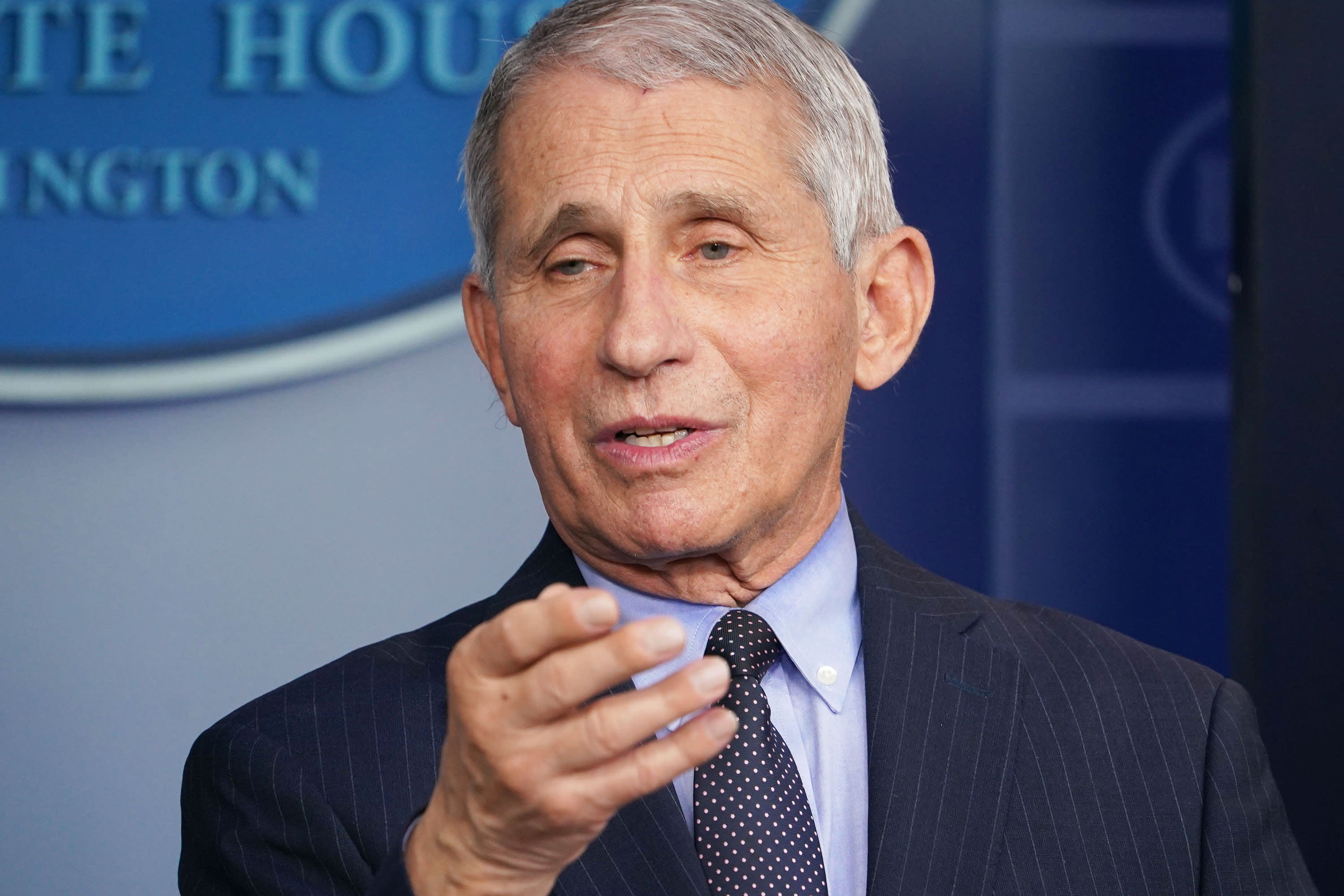 Dr. Anthony Fauci giving a statement about social distancing