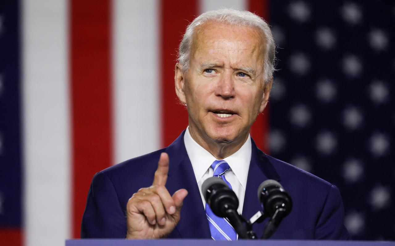 U.S President Joe Biden making a hand gesture during a press conference